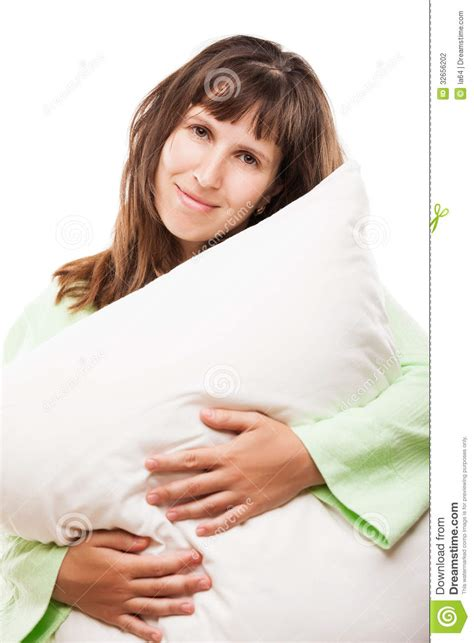 Holding Pillow While Sleeping by Smiling Holding Pillow For Rest And Sleep