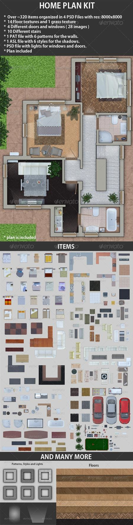 3d home design kit furniture plan psd layered material all design template