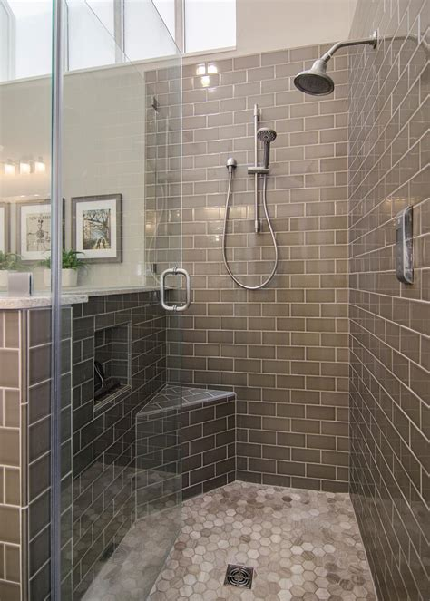 monochromatic gray mosaic subway tiles shower space wall photos hatfield builders remodelers hgtv