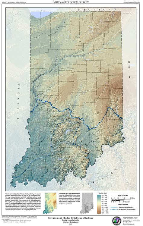 physical map of indiana elevation and shaded relief map of indiana 2012