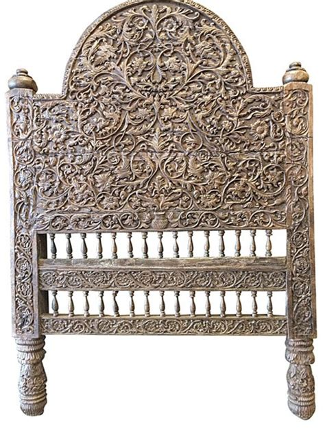 carved wooden headboard antique headboard intricate jaipur floral carved wood bed