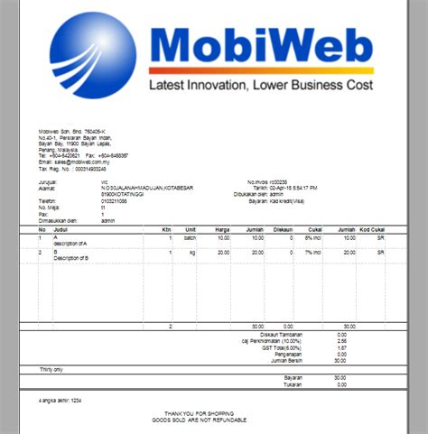 sle invoice malaysia goods and services tax invoice gst