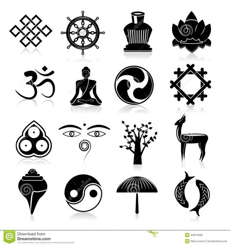 buddhism icons set black stock vector illustration of