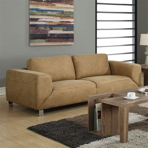 tan suede couch contrast micro suede sofa in tan i8513tn