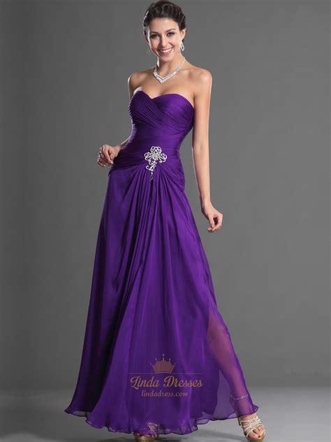 Purple Strapless Dress purple strapless pleated bodice chiffon prom dress with