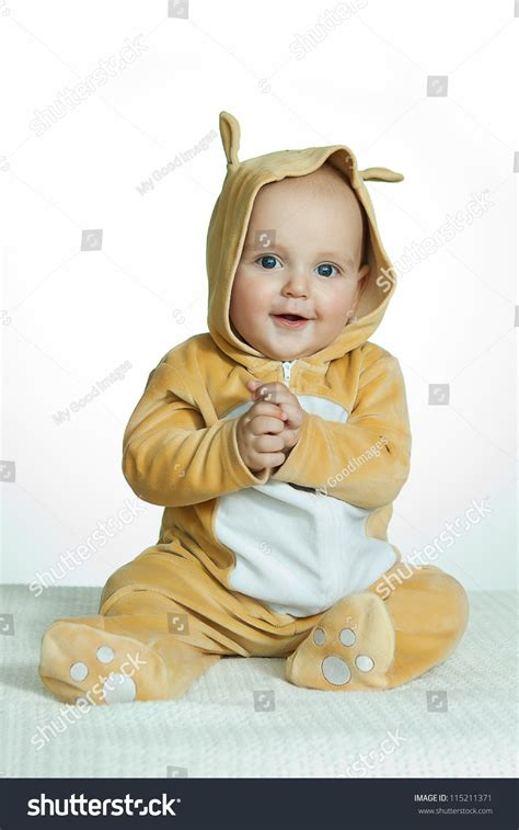 Sweet Deer Baby Costume by Baby Boy In Deer Costume On White Background