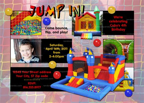 bounce house party diy moonwalk jump invitation inflatable bounce house party inviten