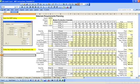 mrp template mrp spreadsheet spreadsheets