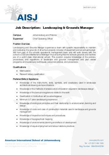 sustainable landscape project manager job description form