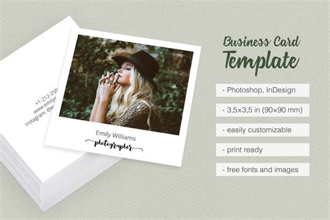 polaroid card template square polaroid photographer business c design bundles