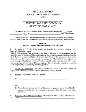 single member llc operating agreement forms and templates
