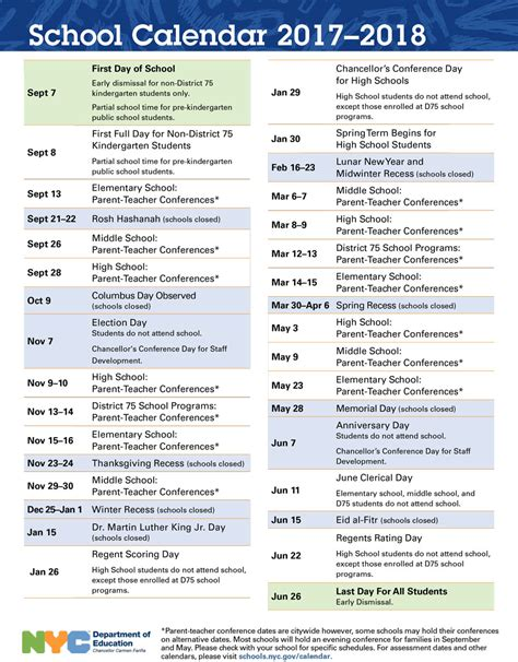 new year 2018 school 2017 2018 school calendar p s 10