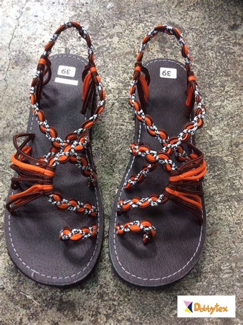 Handmade Leather Sandals South Africa - dobbytex dbts9 brown orange black white twist handmade