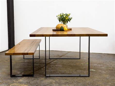 square dining table with bench steel square table by glencross furniture handkrafted