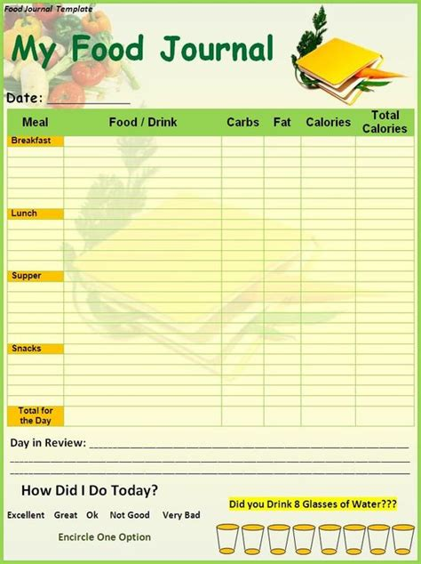 free daily journal template food diary template printable food journal template