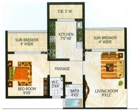 610 sq ft 1 bhk floor plan image gaj avenue available 610 sq ft 1 bhk 1t apartment for sale in raj group tulsi