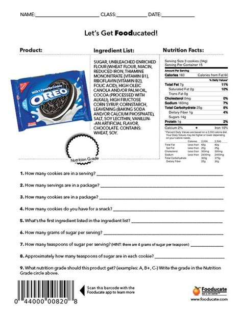 Nutrition Worksheets For by Worksheets For Reading Food Labels With Answer Key This