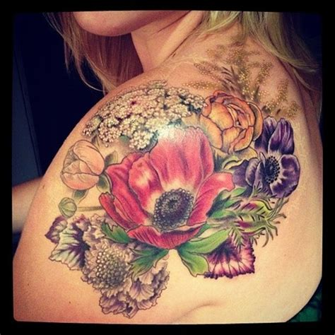 51 Marvelous Vintage Shoulder Flower Tattoos Flower Tattoos Designs For
