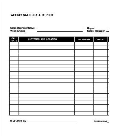 weekly sales call report template weekly sales report 5 free excel pdf documents
