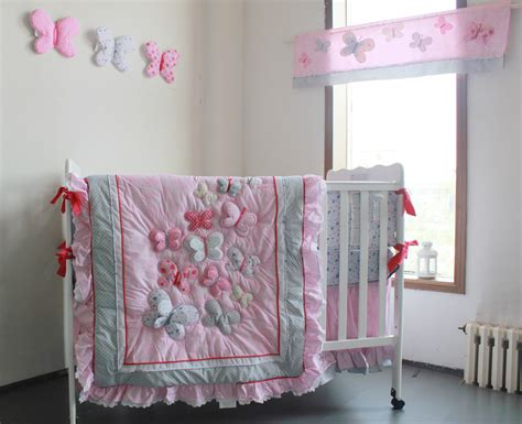 butterfly crib bedding set pink butterfly pattern girl baby bedding lovely cotton printing crib bedding set 4pcs