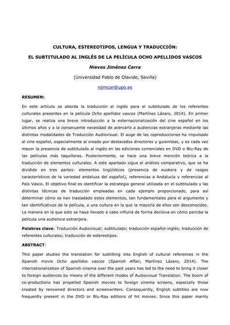 Resumen 8 Apellidos Vascos En Ingles by Pdf Cultura Estereotipos Lengua Y Traducci 243 N El