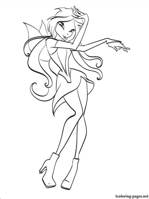 coloring page winx flora  girls coloring pages