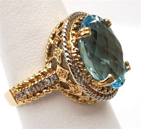 Topaz 5 14ct 14ct yellow gold blue topaz ring size o catawiki