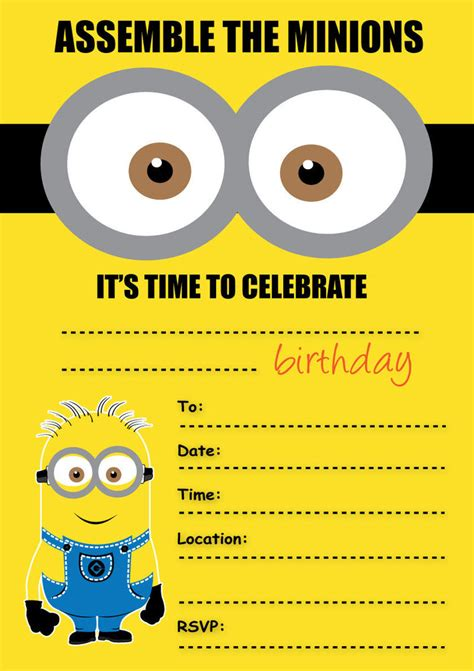 minions birthday invitation card template despicable me minions invitations children s