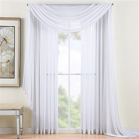 120 inch white curtains buy reverie 120 inch sheer window curtain panel in white