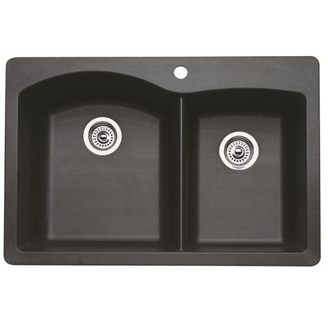 Shop Blanco Diamond Double Basin Drop In Or Undermount Blanco Granite Kitchen Sinks