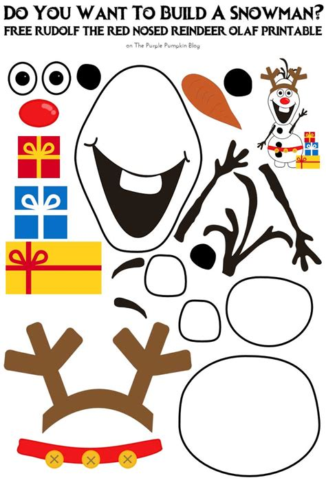 printable christmas olaf do you want to build a snowman rudolf the red nosed