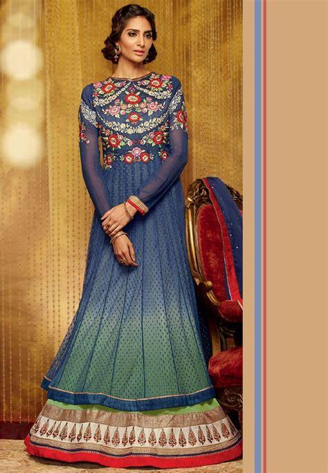 Abaya Bordir Rainbow blue and green net layered abaya style