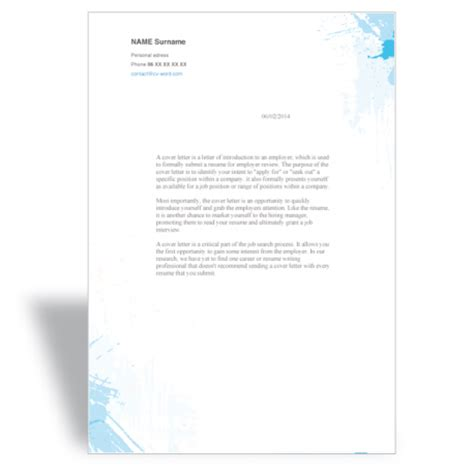word cover letter template painter