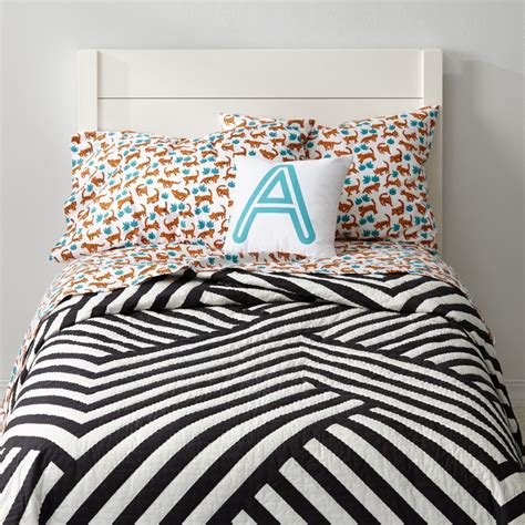 geometric bedding black white geometric quilt the land of nod