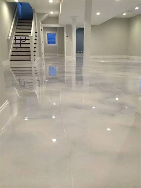 pearl white epoxy concrete floor renovation