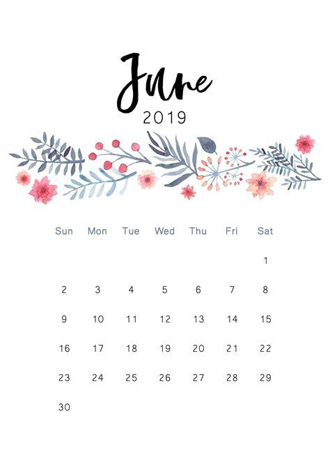 cute june  calendar floral design wallpaper june