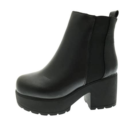 Ankle Platforms mid chunky block heel chelsea low ankle boots
