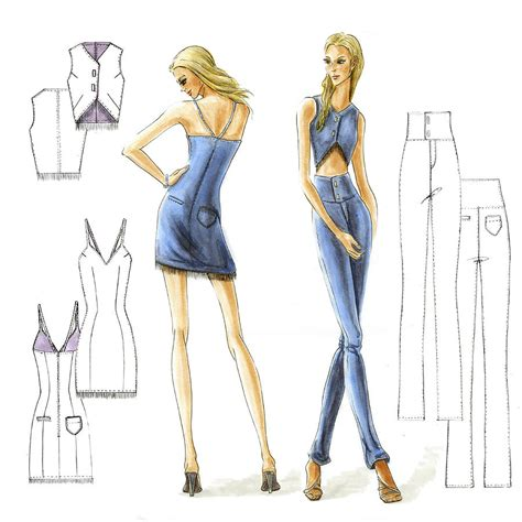 fashion illustration denim denim drawing by zhimin zhai