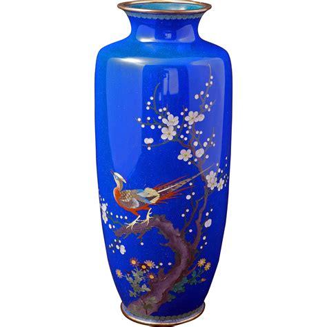 Blue Cloisonne Vase meiji japanese blue cloisonn 233 vase with pheasant design