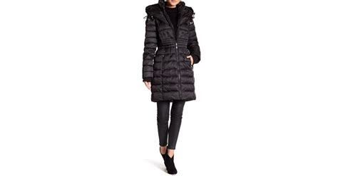 Betsey Johnson Quilted Jacket by Betsey Johnson Quilted Puffer Hooded Jacket In Black Lyst