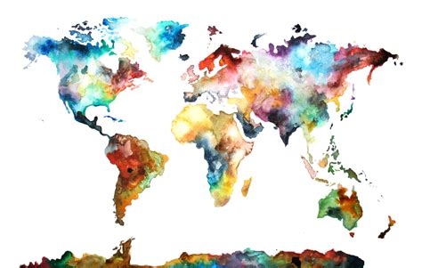 Watercolor World Map watercolor