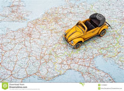 car travel travel by car a car on europe map royalty free stock photography image 14786807