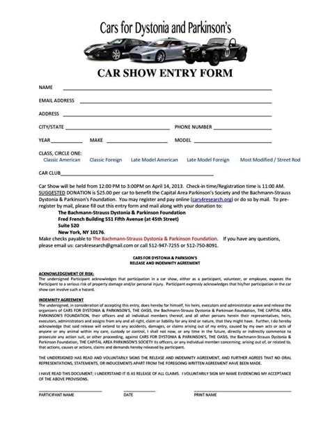 free car show registration form template free car show registration form template