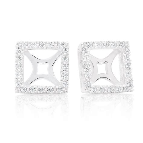 Sterling Silver Square Earrings cubic zirconia sterling silver square earring enhancer