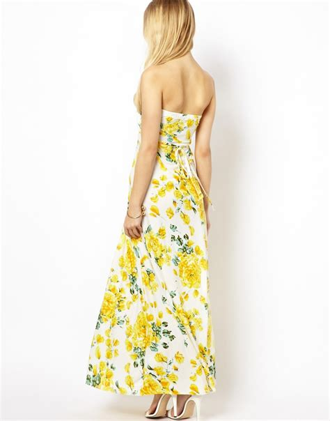 Maxi Flower Leaf Yellow lyst ax strapless floral maxi dress in yellow