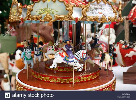 christmas carousel seasonal decoration stock photo