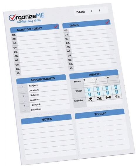printable planner pad pages amazon organizeme daily planner and day organizer to do