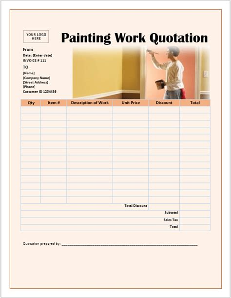painting work quotation templates ms office