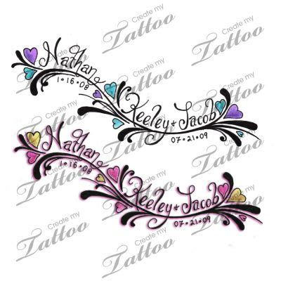 tattoo designs with names hidden in them with children s names names tattoos