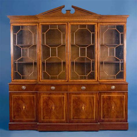 Antique Style English Mahogany Breakfront Bookcase For Vintage Bookshelves For Sale